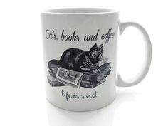 For the cat and book lover. | Community Post: 23 Super Cute Mugs Every Book Nerd Will Love