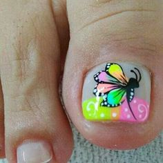 Manicure, Pedicure Nail Art, Toe Nail Art, Cute Toe Nails, Love Nails, Fun Nails, Pedicure Designs, Toe Nail Designs, Summer Toe Nails