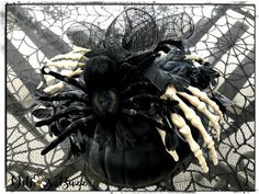 Spider & skeleton hand embellished black pumpkin Haunted Halloween, Halloween House, Halloween 2020, Fall Halloween, Skeleton Decorations, Scary Halloween Decorations, Halloween Themes, Diy Cement Planters, Gothic Glam