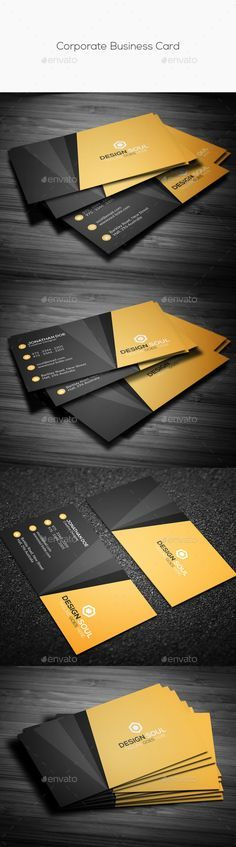 Corporate Business Card Template PSD #design Download: http://graphicriver.net/item/corporate-business-card/14311358?ref=ksioks