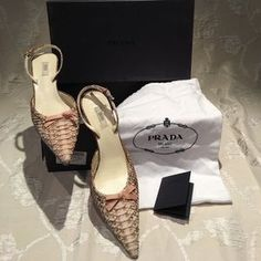 I just added this to my closet on Poshmark: Prada Blush Python skin pointed toe sling backs. Price: $499 Size: 7