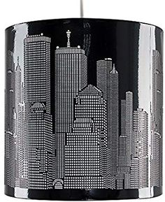 Modern Gloss Black New York Skyline Ceiling Pendant Shade Ceiling Pendant, Willis Tower, Home Bedroom, Free Delivery, New York Skyline, Shades, Amazon, Lighting, Modern