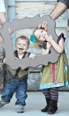 cute kids' photo idea. or a huge frame with whole family inside!
