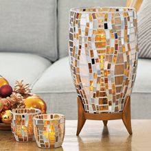 """#Vienna Collection:  P91654S  $100.00   Vienna Hurricane & Universal Tealight Tree - #Bronze-tone   #Glass tiles are hand-applied by #gifted #artisans to create an original and dazzling work of art. Hurricane sits on a resin base for added elegance. Add a pillar candle, Escential Jar or GloLite Jar Includes  Universal Tealight Tree - Bronze-tone. 13""""h, 6½""""dia. P91633  $35.00  Votive Holder Each mosaic piece is unique and one of a kind. 3""""h, 3""""dia."""