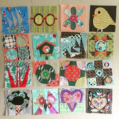 I am so in love with these funky applique blocks