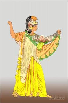 Ancient Greek goddess costume. Greece female clothing and garments.