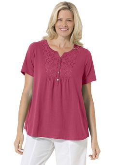 e03da424cbc Womens Plus Size Top In Soft Knit With Eyelet Embroidery Woman Within