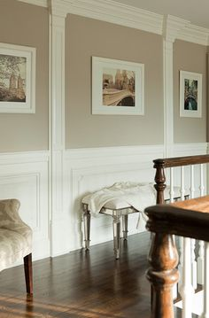 Suzie: The Elegant Abode - Beautiful upstairs hall with creamy cafe au lait walls paint color ...