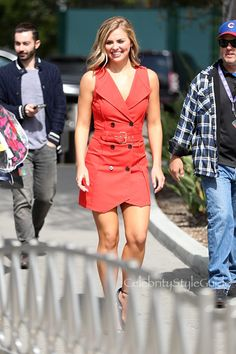 Hannah Brown's Red Trench Dress Defines Sophisticated Glamour   Celebrity Style Guide