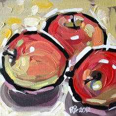 Apple abstraction 13, painting by artist Roger Akesson