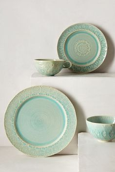The perfect hint of faded turquoise with a dash of pattern, place setting heaven! Old Havana Dinner Plate
