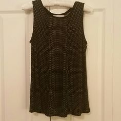 LOFT Black and white polka-dot shell Fun pleated front shell. It's fitted up top and loose on the bottom.  Very flattering! Rayon/spandex.  Super cute, great condition! LOFT Tops Tank Tops