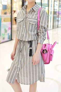 $12.67 Ladylike Polo Collar Stripe Single-Breasted Long Sleeves Dress For Women