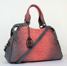 Cartier Handbags Marcello De Croco Pattern Tote Bag 1000633 Red Gray