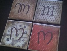 Tiles made into coasters with craft paper, antiquing/distressing ink, monogram cut-outs, Mod Podge, and finishing spray. Super quick and easy!
