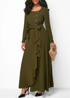 Button Up Belted Long Sleeve Ruffle Dress | Rosewe.com - USD $41.38