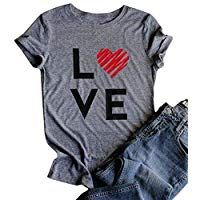 e8b6f041 Valentine's Day Shirt Women Love Print Short Sleeve O-Neck Casual Tops Tees  Blouse Gifts