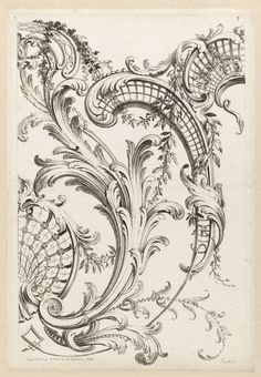 """Print, """"Shell Cartouches and Acanthus Leaf Motif"""", 1740"""