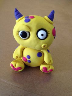 Little Yellow Monster - Polymer Clay Sculpture - Art by Sarah Price