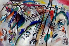 Vasily Kandinsky, b. 1866, Moscow; d. 1944, Neuilly-sur-Seine, France. Improvisation 28 (Second Version), 1912. Oil on canvas, 43 7/8 x 63 7/8 inches (111.4 x 162.1 cm)  Students will be able to to analyze and discuss how line and color show emotions through this work. chaotic, energized, and happy.
