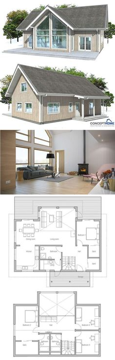 House Plans in Modern Architecture. New House Plans, Modern House Plans, Small House Plans, House Floor Plans, Casas Containers, Cottage Plan, House Blueprints, Small House Design, House Layouts
