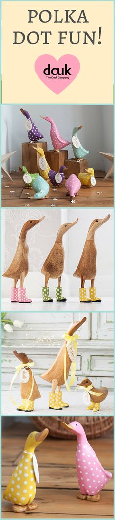 Here at DCUK we are dotty about Polka Dots! Our ranges include painted and natural finish ducks either fully covered with polka dots or with polka dot boots! Various sizes and poses. Please visit our website to see more! The Duck Company