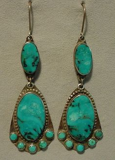 Vintage Old Indian Pawn Sterling Silver Turquoise Cluster Dangle Earrings