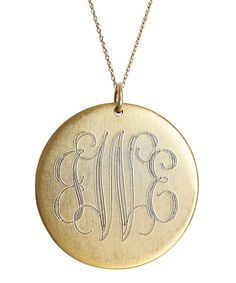 Antiqued Gold Large Disc Personalized Pendant Necklace