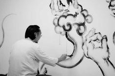 Wall painting Ghosts and monsters Black and white ink Zhu jingyi 朱敬一 Shanghai,China  微网址:www.zhujingyiart.com