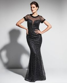 Daymor Couture 473 Sequin Illusion Dress $750