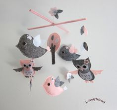 "Baby Crib Mobile - Baby Mobile - Mobile - Crib mobiles - Felt Mobile - Nursery mobile - "" Grey and pink owl and bird "" design. $78.00, via Etsy.  Adorable but in Lavender, Smoke and White."