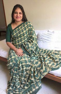 Green Cotton Saree   Whirling Dervishes motif & hand mudra motif pallu  From Either Or Pune