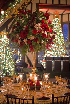 Wonderful Winter Weddings: Color Scheme Ideas - - For most of our lives, we'll have various favorite colors – as children, this is a very important distinct, and though it grows less pertinent in adulthood, ma…. Christmas Wedding Centerpieces, Christmas Wedding Decorations, Wedding Table Decorations, Christmas Themes, Gold Christmas, Holiday Wedding Ideas, Vintage Christmas Wedding, Centerpiece Ideas, Red Wedding