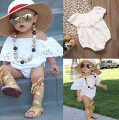 80efc3d56d63 Kids White Floral Romper  babygirl  newborn  kidsfashion  fashion   childrensclothing  kidsmodeling