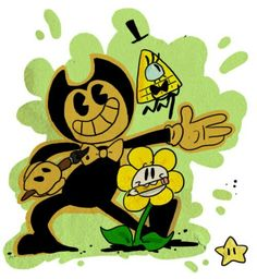 GF, UT, BATIM Bill Cipher, Flowey and Bendy I love it