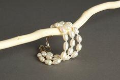 Multi Strand White Fresh Water Pearl Bracelet  by AmphaiJewelry