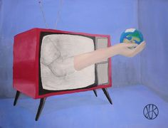 Painting #painting #paint #tv #globe #media #red #blue