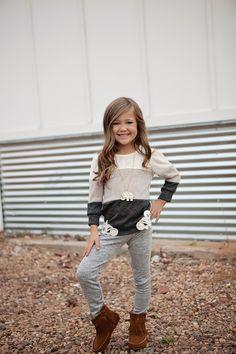 Girls Cascade Striped Dress W Pockets Khaki