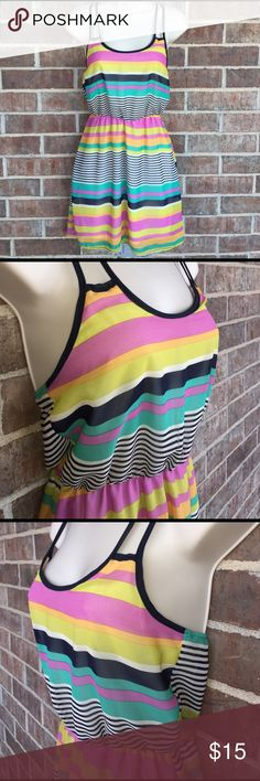 CHARLOTTE RUSSE STRIPED DRESS CHARLOTTE RUSSE  CHARLOTTE RUSSE STRIPED DRESS. COLORS TRUE TO PICTURE. SUPER CUTE CROSS BACK.   100% POLYESTER   SMOKE FREE HOME Charlotte Russe Dresses