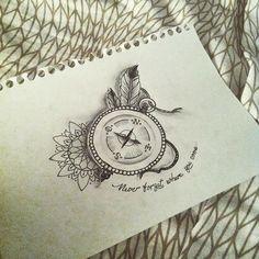 Instagram media ilonapcqeux - Tattoo draw 2! #IlonaPcqeuxTattoo #boussole #demande #cliente #voyage