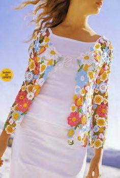 Flowers and leaves crochet top.that's crochet! Crochet Diy, Beau Crochet, Pull Crochet, Freeform Crochet, Irish Crochet, Crochet Crafts, Crochet Projects, Crochet Tops, Crochet Ideas