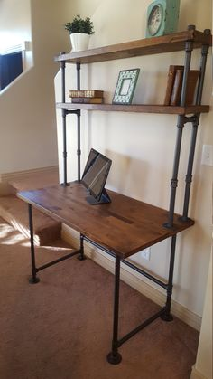 Pipe Desk with Shelving by PipeFurnitureDesigns on Etsy