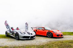 Looking for similar pins? Follow me! http://kohlsson.link/1W5N6ws | kevinohlsson.com Mercedes SLR Stirling Moss and Porsche 991 GT3 RS in the Swiss Alps [20481361] [OC]