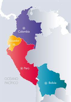 Resultado de imagen para IMÁGENES DE LOS MAPAS DE PAISES DE REGIÓN ANDINA