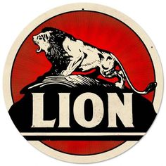 Vintage and Retro Wall Decor - JackandFriends.com - Retro Lion Gasoline Round Tin Sign LARGE, $99.97 (http://www.jackandfriends.com/vintage-lion-gasoline-round-metal-sign/)