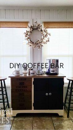 Refinished Furniture, Furniture Makeover, Painted Furniture, Diy Furniture, Farmhouse Ideas, Modern Farmhouse, Farmhouse Decor, Coffee Bar Home, Coffee Bars