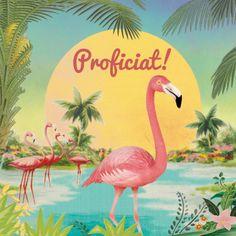 Wens iemand proficiat met deze fris tropische flamingo kaart met hippe flamingos voor een zomerse zonsondergang, verkrijgbaar bij #kaartje2go voor €1,79