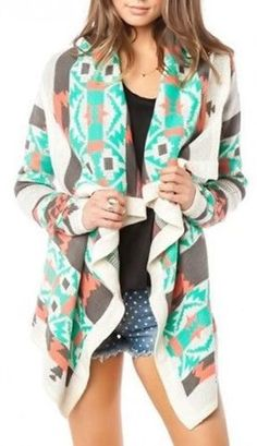 URBAN PEOPLE Southwest-Ing green,brown,coral Game Print Cardigan Sweater Draped Size Medium