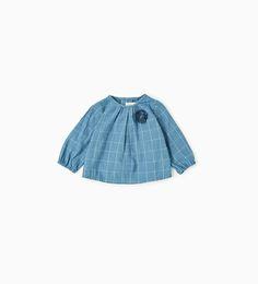 シャイニーチェックシャツ-トップス-ミニ (0 - 12ヶ月)-キッズ | ZARA 日本