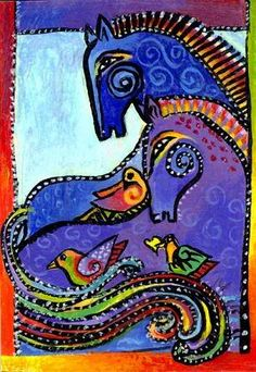 After Laurel Burch ~ Composition with Horses and Birds. Love the rich colors and dense patterns. Laurel Burch, Illustrations, Illustration Art, Painted Pony, Arte Popular, Equine Art, Psychedelic Art, Horse Art, Silk Painting